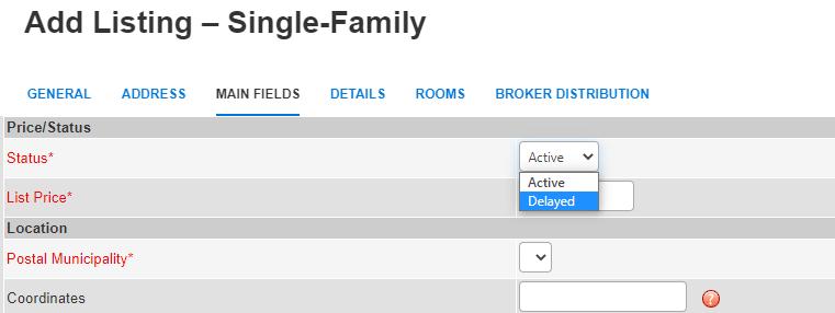 Add Listing - Delayed