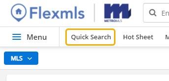 Flexmls Click on Quick Search